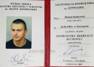 Instruktor Rekreacji Ruchowej – specjalność Samoobrona Michał Dudkowski